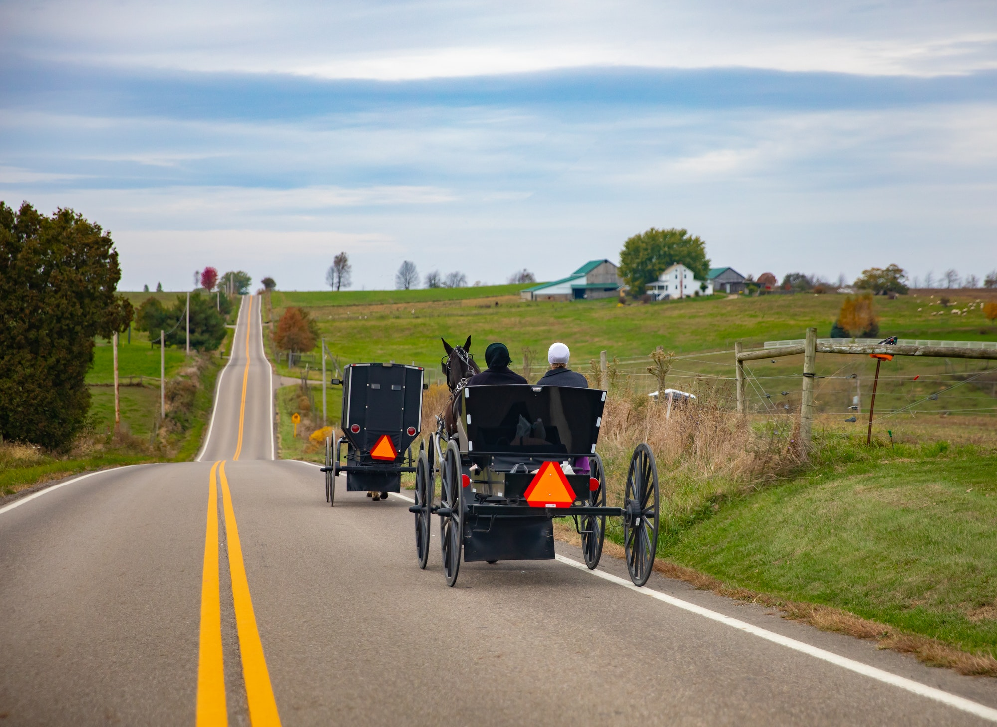 Rolling Country road in rural Ohio with two Amish black buggies with horses and green farmland